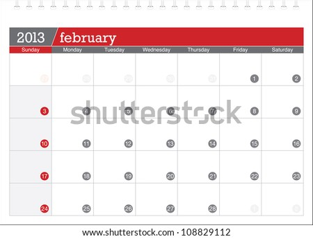 february 2013-planning calendar - stock vector