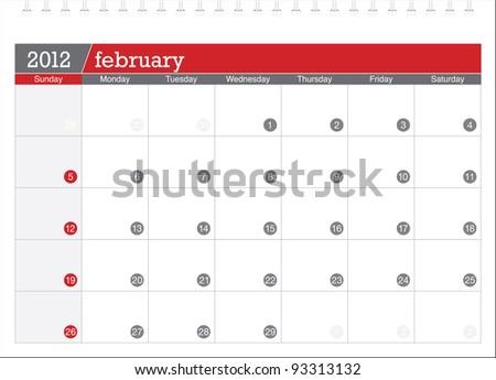february 2012-planning calendar - stock vector