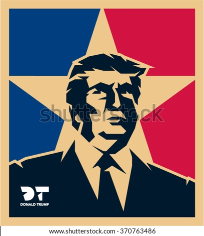 February 2, 2016: Republican Presidential Candidate Donald Trump vector isolated portrait illustration - stock vector