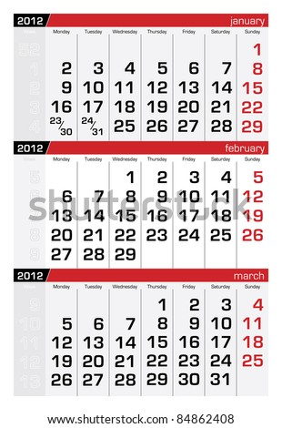 February 2012 Three-Month Calendar - stock vector