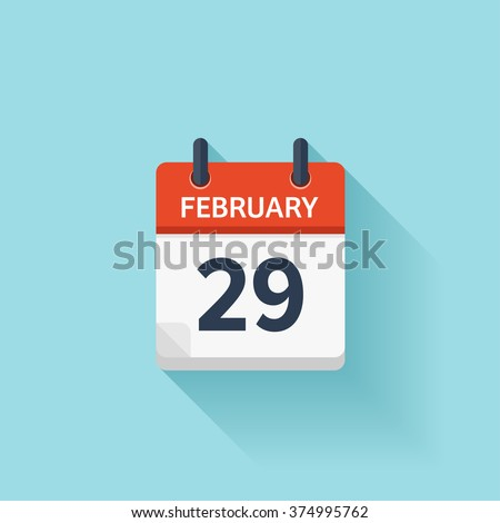 February 29. Vector flat daily calendar icon. Date and time, day, month. Holiday. - stock vector