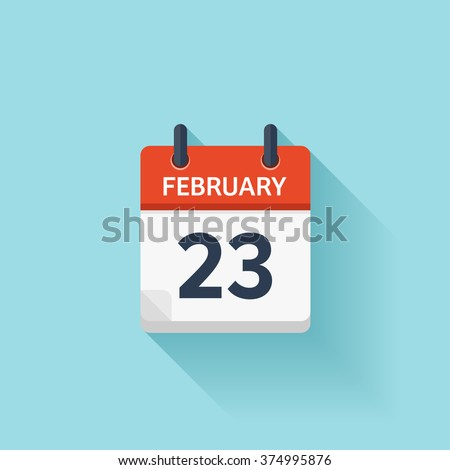 February 23. Vector flat daily calendar icon. Date and time, day, month. Holiday. - stock vector