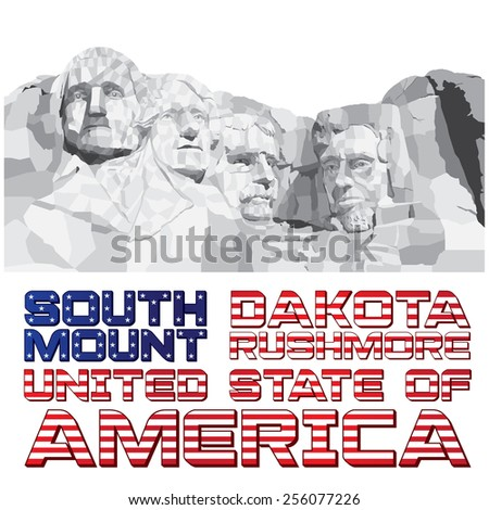 February 26, 2015: Vector illustration of the Mouth Rushmore with the USA Text Flag on white background. - stock vector