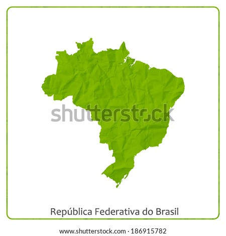 Federal Republic of Brazil map on green textured paper - stock vector