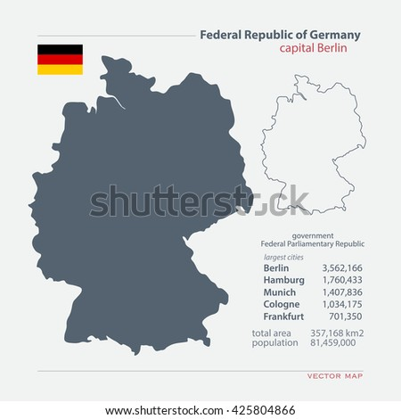 Federal Republic of Germany isolated maps and official flag icon. vector German political map icons with general information. European State geographic banner template. Deutschland - stock vector