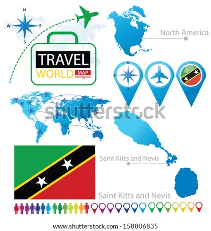 Federation Saint Kitts Nevis Flag North Stock Vector 158806835