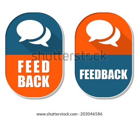 feedback and speech bubbles symbols, two elliptic flat design labels with icons, business and communication concept, vector - stock vector