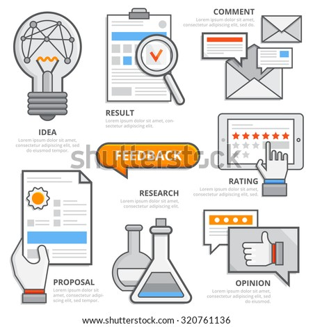 Feedback business design concept, flat design elements of feedback, idea, result, comment, research, rating, opinion, proposal. Modern isolated vector illustration, Infographic template. - stock vector