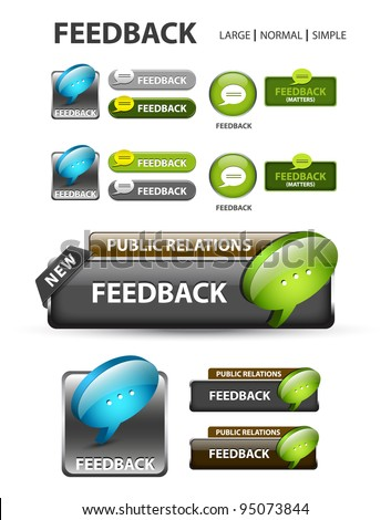 Feedback button, collection of feedback icons and buttons - stock vector
