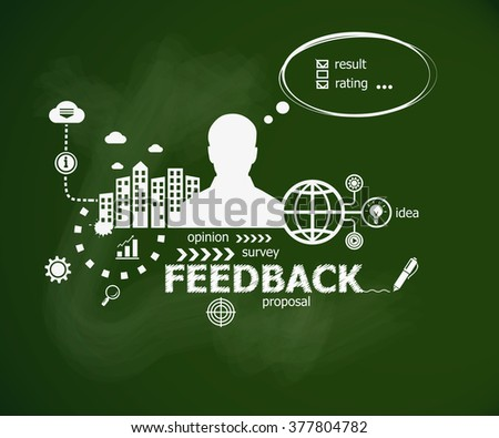 Feedback concept and man. Hand writing Feedback with chalk on green school board. Typographic poster. - stock vector