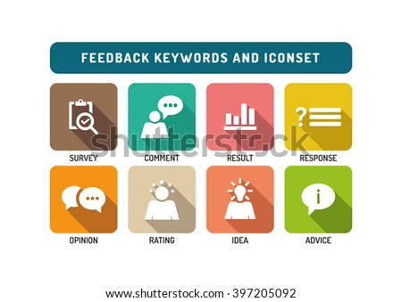 Feedback Marketing Flat Icon Set - stock vector