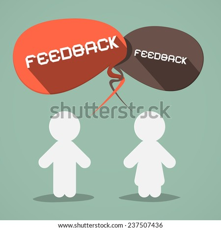 Feedback Vector Flat Design Symbol with Paper People - stock vector