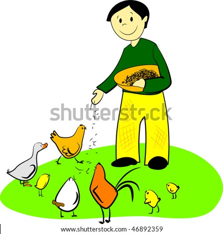 Feeding Chickens Clipart