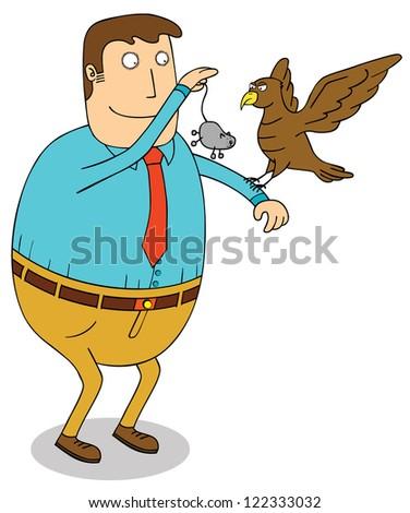 feeding eagle - stock vector