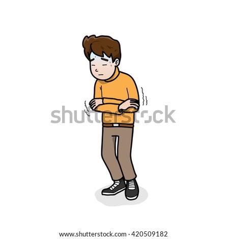 Feeling Sick, a hand drawn vector illustration of a man feeling sick. - stock vector
