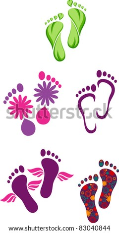 feet, logo design - stock vector