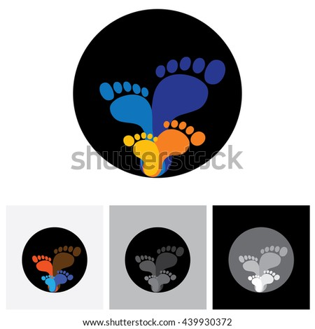 Feet Family Members Father Mother Son Stock Vector 439930372