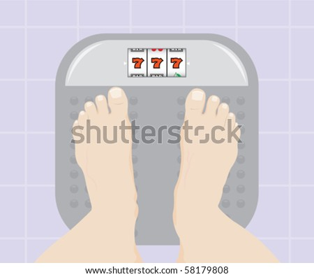 Feet on weight scale - stock vector