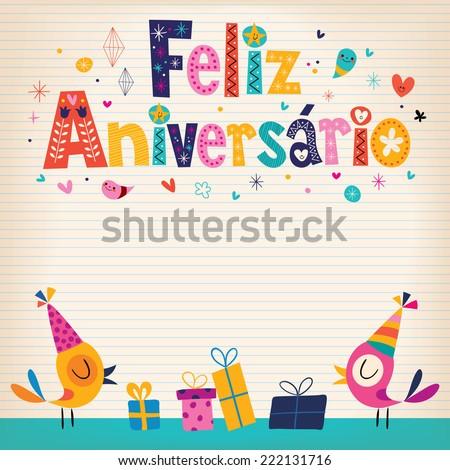 Feliz Aniversario Portuguese Happy Birthday card - stock vector
