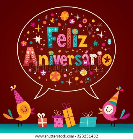 Feliz Aniversario Portuguese Happy Birthday card - stock vector