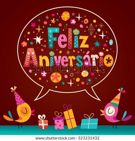 Feliz Aniversario Portuguese Happy Birthday Card Vector – Portuguese Birthday Cards