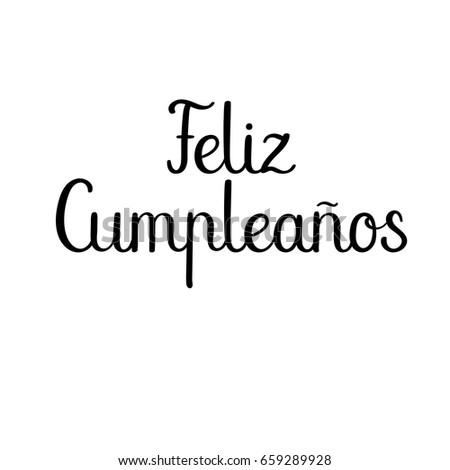 Feliz Cumpleanos Happy Birthday Spanish Modern Stock Vector
