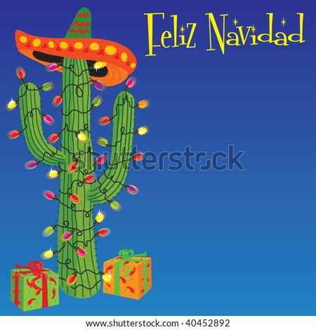 Feliz Navidad! Cactus wrapped with christmas lights and Sombrero - stock vector