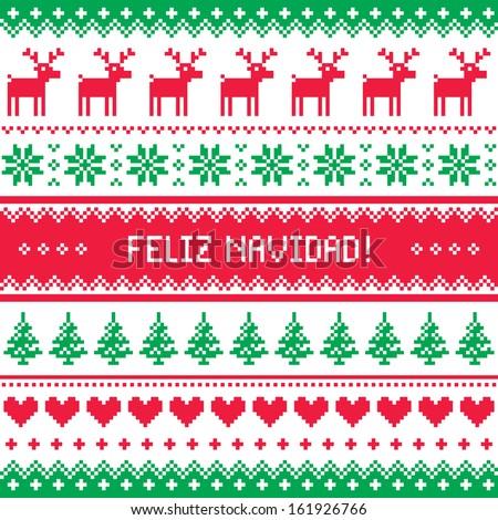 Feliz navidad card - scandynavian christmas pattern - stock vector