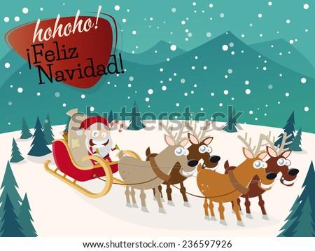 feliz navidad christmas greeting card - stock vector