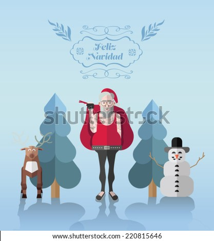 Feliz navidad, Merry Christmas in Spanish, message vector with hipster illustrations on blue background - stock vector