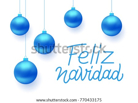 Feliz Navidad Spanish Merry Christmas Line Stock Vector (2018 ...