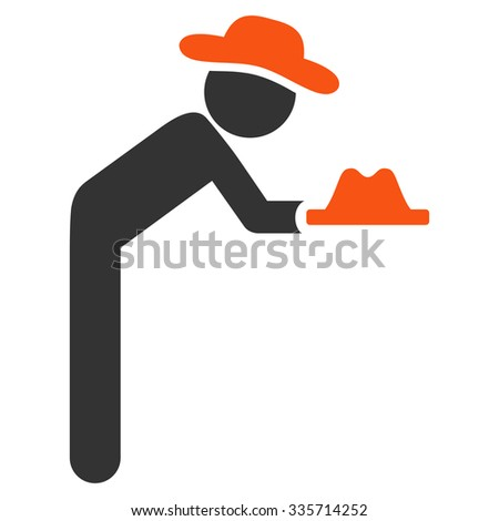 Fellow Servant vector icon. Style is bicolor flat symbol, orange and gray colors, rounded angles, white background.