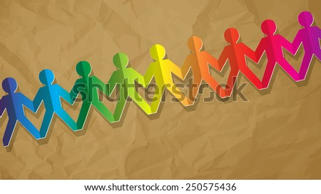 fellows paper rainbow on vintage background - stock vector