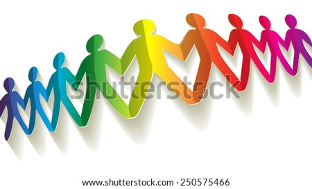 fellows paper rainbow on white background - stock vector