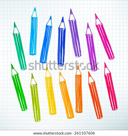 Felt pen childlike drawing of colored pencils on checkered school notebook paper. Vector illustration. - stock vector