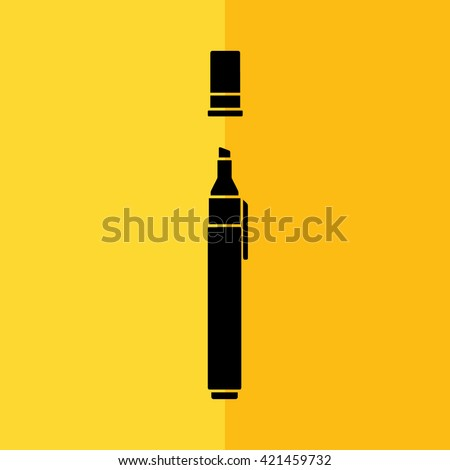 Felt pen icon. Pencil vector illustration. Yellow background