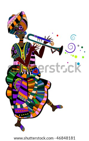 female actress in the ethnic style on a white background - stock vector