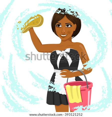 female african american housekeeping worker cleaning window with soap sponge - stock vector
