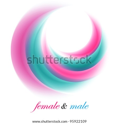 female and male abstract symbolic illustration, logo (ideal for beauty concept works) - stock vector