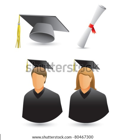 Female and male graduate, cap and tassel, and degree - stock vector