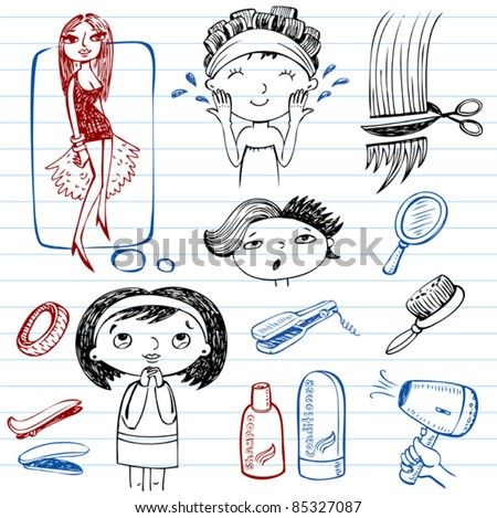 Female beauty, beauty salon, doodle set