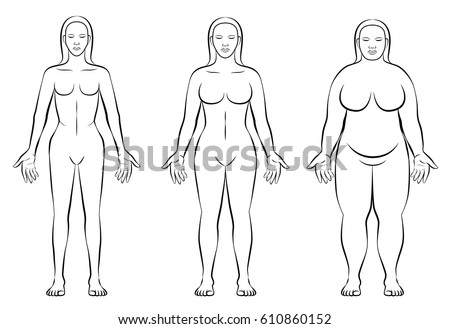 Female Body Constitution Types Thin Normal Stock Vector 610860152 ...
