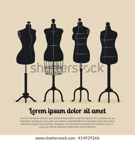 Female body vintage mannequin set. Tailors mannequins vector illustration - stock vector