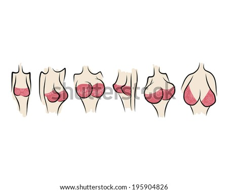 Female breast sketch for your design - stock vector