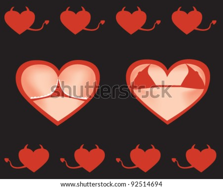 female bust and booty. Hearts And Valentin`s Day.  Vector Illustration - stock vector
