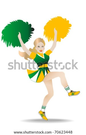 female cheerleader in green and gold colors cheering happily