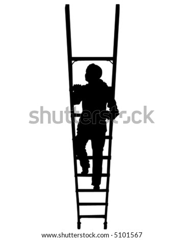 Female Climbing Ladder