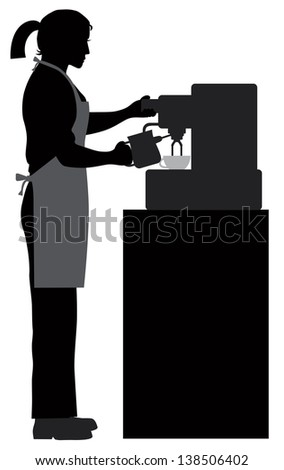 Female Coffee Bartender Barista Silhouette Making Espresso and Steaming Milk with Espresso Machine Vector Illustration
