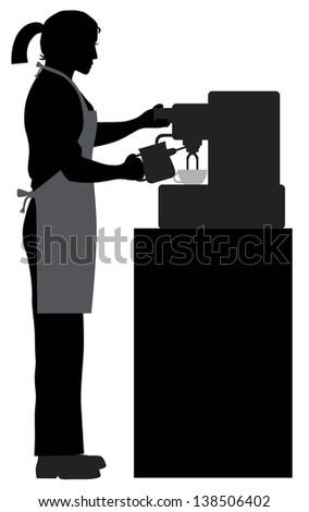 Female Coffee Bartender Barista Silhouette Making Espresso and Steaming Milk with Espresso Machine Vector Illustration - stock vector