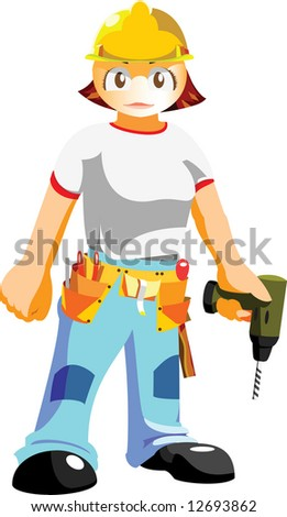 female construction worker - stock vector